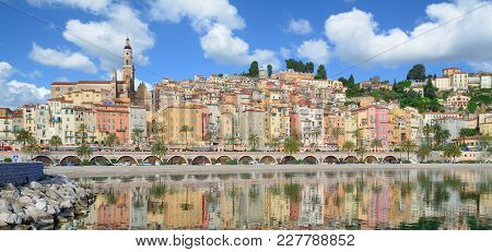 Panoramic View Of Menton At French Riviera At Mediterranean Sea,cote D`azur,south Of France