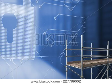Digital composite of Security Lock interface with 3D Scaffolding