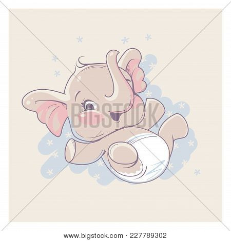 Cute Little Newborn Baby Elephant Girl Lying On Back . Cartoon Character Of Baby Girl Of 1 - 6 Month