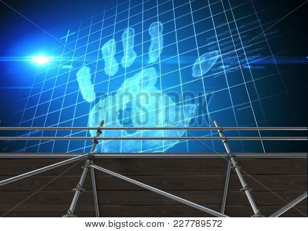 Digital composite of Hand print interface with 3D Scaffolding