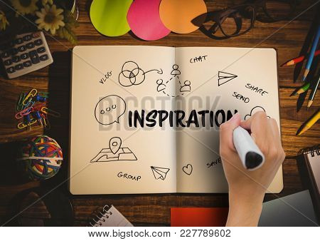 Digital composite of Hand drawing in a notebook a graphic about inspiration