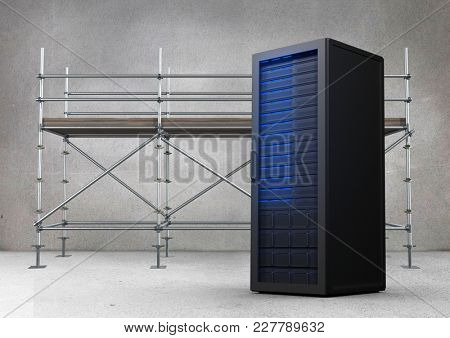 Digital composite of Scaffolding in grey room with blue server