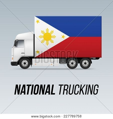 Symbol Of National Delivery Truck With Flag Of Philippines. National Trucking Icon And Filipino Flag
