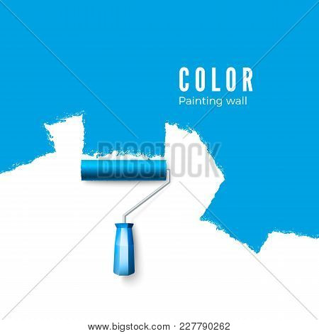 Paint Roller Brush. Paint Texture When Painting With A Roller.  Painting The Wall In Blue. Vector Il