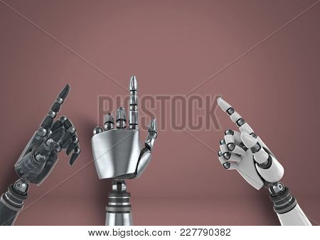 Digital composite of Android Robot hands pointing with brown background