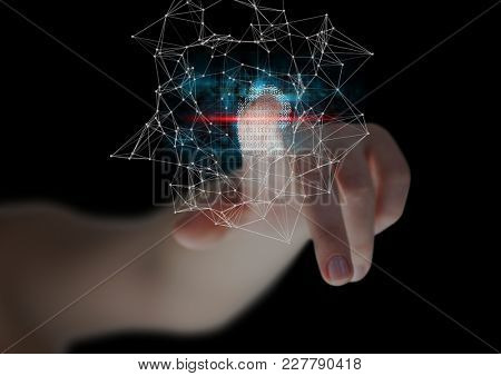 Digital composite of fingerprint scan , blue and red flares