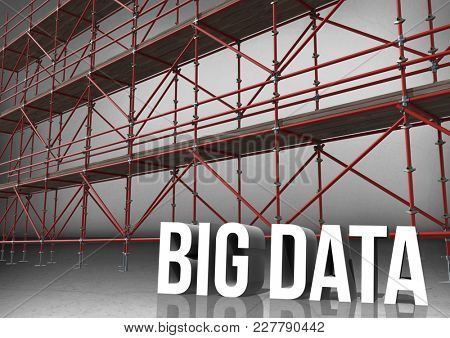 Digital composite of 3D word big data in front of scaffolding in grey room