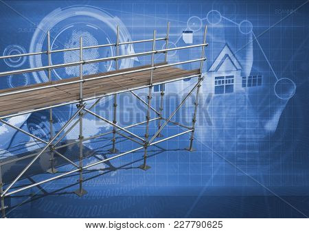 Digital composite of House interface with 3D Scaffolding
