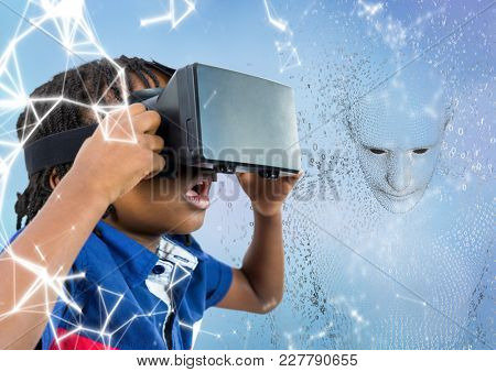 Digital composite of Kid in VR against 3D male shaped binary code against blue background and white network