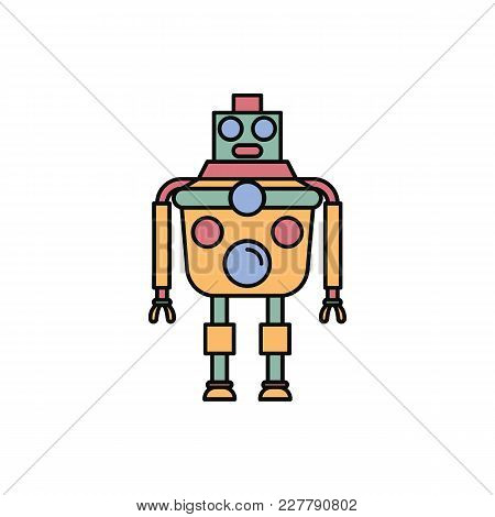 Robot Icon In Cartoon Style. Vector Illustration With Artificial Intelligence Robot On White Backgro