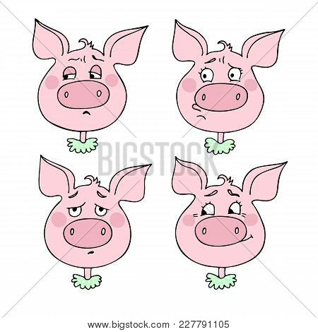 A Set Of Pig Emotions, Including Sadness, Offense, Shame, Embarrassment. Facial Expression. Vector I