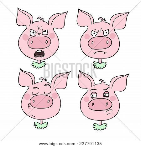 A Set Of Pig Emotions, Including Angry, Irritated, Arrogant. Facial Expression. Vector Illustration