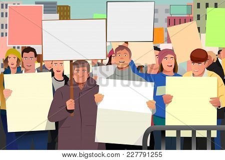 A Vector Illustration Of People Holding Pamphlet In Demonstration