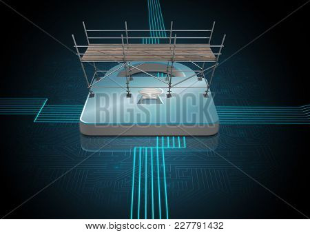 Digital composite of Security Lock with 3D Scaffolding