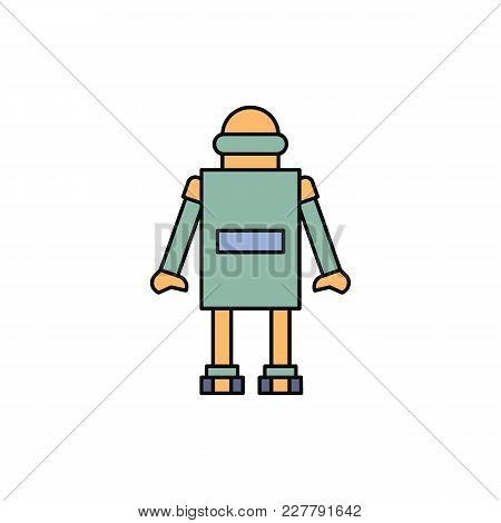 Robot Icon In Cartoon Style. Vector Illustration With Automatic Helper Robot On White Background. Ro