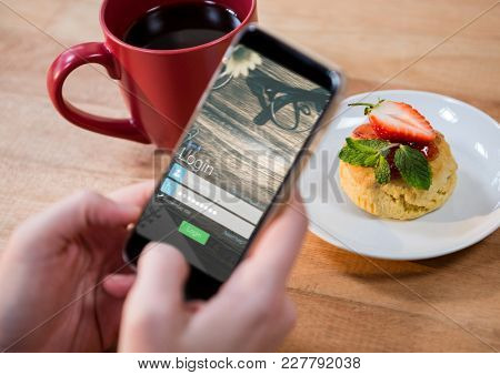 Digital composite of blurred phone with login and food