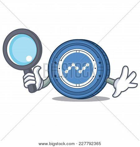 Detective Nano Coin Character Cartoon Vector Illustration