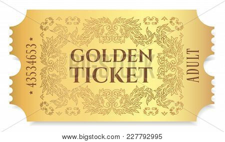 Gold Ticket, Golden Token (tear-off Ticket, Coupon) Isolated On White Background. Useful For Any Fes