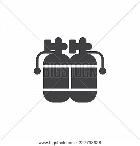 Twin Air Tanks Diving Kit Vector Icon. Filled Flat Sign For Mobile Concept And Web Design. Diving Cy