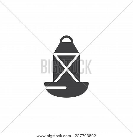 Sea Directional Buoy Vector Icon. Filled Flat Sign For Mobile Concept And Web Design. Oil Lamp Simpl