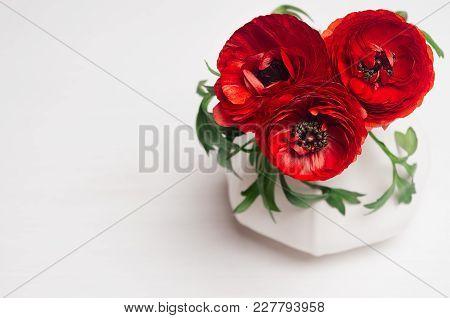 Deep Red Flower Bouquet In Elegant Vase Closeup On White Wood Background. Festive Summer Decor For I