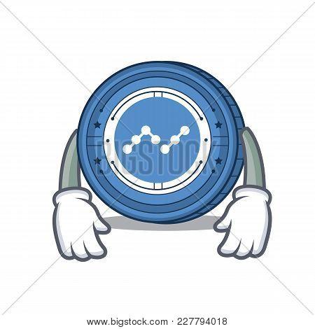 Tired Nano Coin Mascot Cartoon Vector Illustration