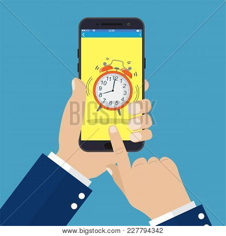 Businessman Hand Holding Smartphone With Alarm Clock On Screen. Vector Illustration In Flat Style