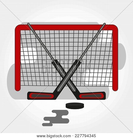 Hockey Gates With Crossed Sticks And Puck. Vector Hockey Symbol With Goalie Sticks, Gates And Puck.