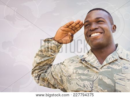 Digital composite of Soldier smiling and saluting against white map with interface