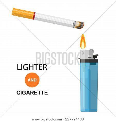 Lighter And Burning Cigarette Card Concept Danger Narcotic Addiction For Design
