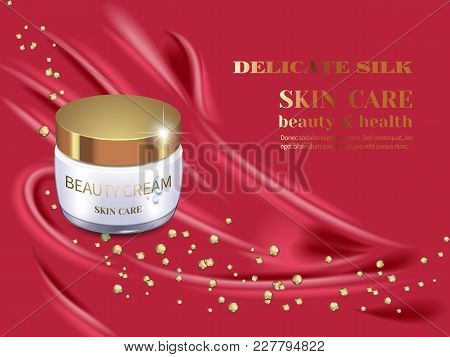 Glass Jar Of Organic Cream With Golden Droplet Of Collagen, 3d Composition On Luxury Burgundy Satin