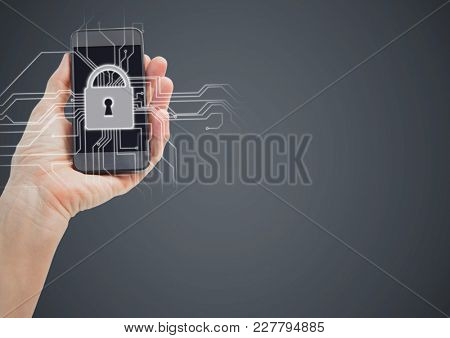 Digital composite of Hand with phone and white lock graphic against grey background