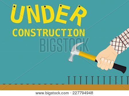 Under Construction Page Sign, Maintenance Website Page Emblem With Text, Casual Man Hand Holding Ham