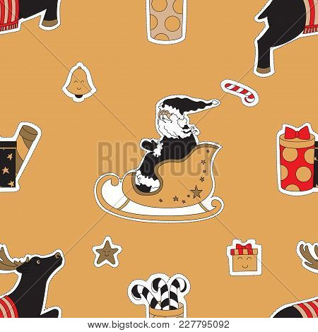 Christmas Gifts And Candies. Seamless Pattern Background With Santa And Deers Vector Illustration.