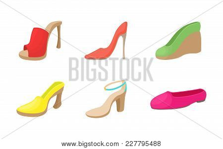Woman Shoes Icon Set. Cartoon Set Of Woman Shoes Vector Icons For Web Design Isolated On White Backg
