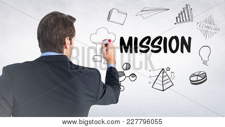 Digital composite of Back of business man with marker against mission doodles and white wall