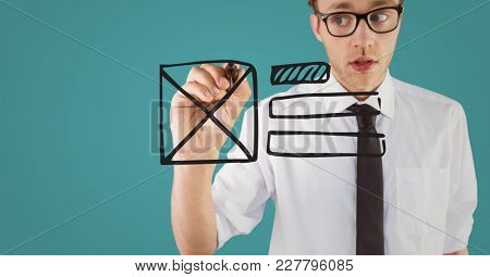 Digital composite of Business man with marker and website mock up against blurry teal background