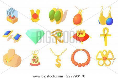 Jewerly Icon Set. Cartoon Set Of Jewerly Vector Icons For Web Design Isolated On White Background