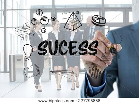 Digital composite of Sucess graphic. Business men writing it.