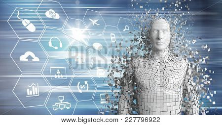 Digital composite of 3D white male AI against blue interface