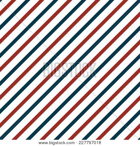 Vector Seamless Pattern With Blue And Red Lines. Retro Texture. Can Be Used For 4th Of July Or Nauti