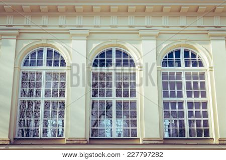 Three Old Windows Of Palace In Warsaw