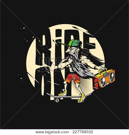 Old Man Is Riding On A Skateboard In His Hand A Boombox On Black Background With Typography Vector I