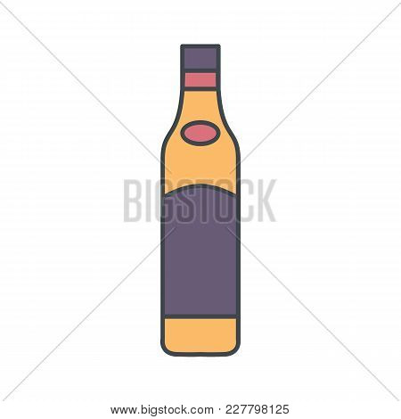 Alcohol Bottle Cartoon Icon. Vector Object In Colour Cartoon Stile Wine Bottle Icon For Drinks Desig