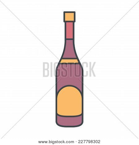 Alcohol Bottle Cartoon Icon. Vector Object In Colour Cartoon Stile Champagne Bottle Icon For Drinks