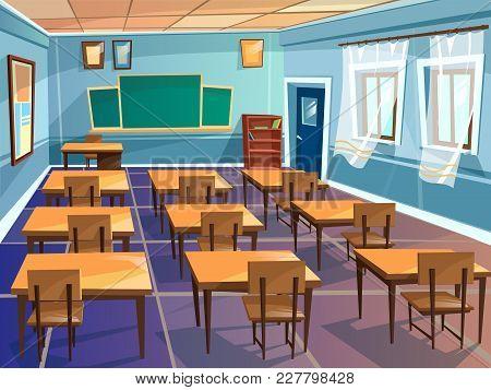 School Classroom Interior Vector Cartoon Illustration. University Schoolroom Design With View On Bla