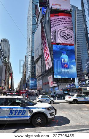 New York City, Usa - Aug. 24: Nypd New York Police Department Vehicles On The Street In Manhattan On
