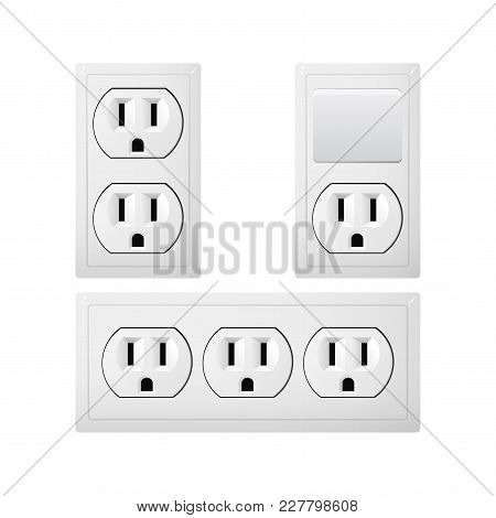 Electrical Socket Type B With Switch. Power Plug Vector Illustration. Realistic Receptacle From Cana
