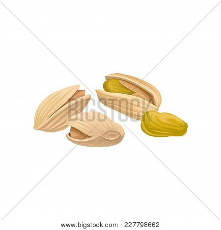 Pistachio Nuts In Beige Shell. Organic And Healthy Product. Concept Of Food And Nutrition. Realistic