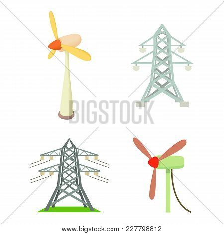Electrical Tower Icon Set. Cartoon Set Of Electrical Tower Vector Icons For Web Design Isolated On W